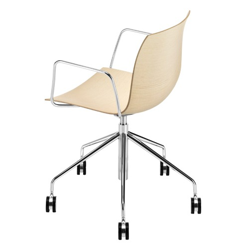 Arper Catifa 46 Task Arm Chair with Wood Seat