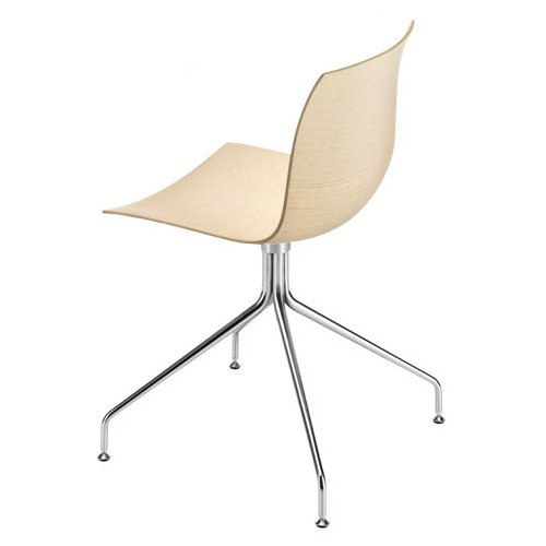Arper Catifa 46 Chair On Trestle Base with Wood Seat