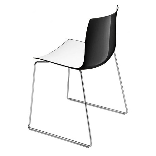 Arper Catifa 46 Sled Base Chair with Two-Tone Seat