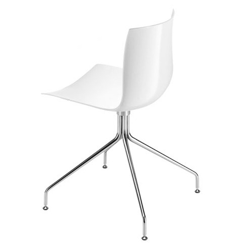 Arper Catifa 46 Chair On Trestle Base with Single-Tone Seat