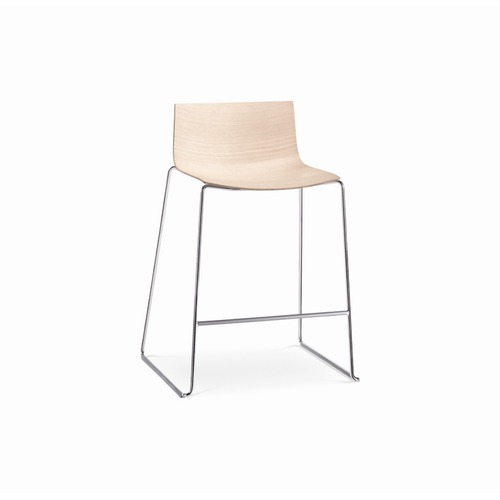 Arper Catifa 46 Counter Stool with Low Back Wood Seat