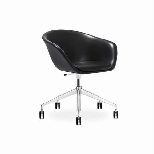 Arper Mid-Back Leather Duna Upholstered Task Chair with Gas Lift