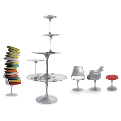 Eero Saarinen Tulip Side Chair-Platinum